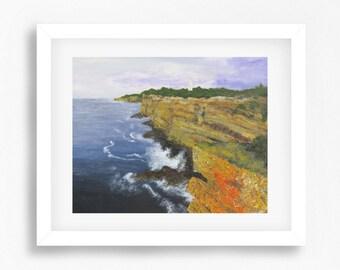 Lighthouse Painting Print, Beach Lighthouse Painting, Lighthouse Art Print, Beach Art, Beach Decor, Abstract Art, Coastal Decor, Coast
