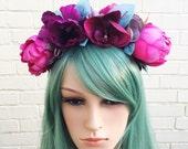 Pink Flower Headband Pink Peony Anemone Flower Crown Purple Crown Wedding Headband Bridal Hair Accessory Teal Flower Plum Boho Hair