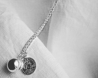 925 Silver chain necklace, 925 Silver Coin Ball pendants and charms.