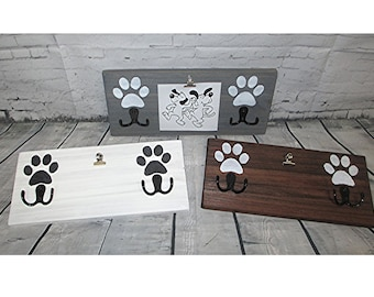 Handcrafted Wood Sign for Two Pets/Dogs Leash Collar Holder, Picture Clip, Paw Prints, Two Hooks, Customize with Initials
