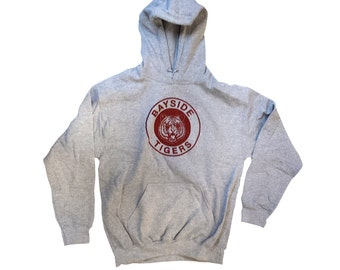 Bayside Tigers Hooded Sweatshirt As Worn By Zack Morris In Saved By The Bell TV Show High School Team Costume Jumper 90s Hoodie Adult Gray