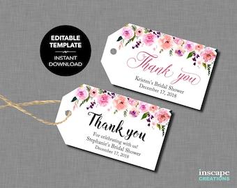 EDITABLE Favor Tags, EDITABLE Bridal Shower Favor Tags TEMPLATE, Floral Rustic Elegant Editable Thank You Tags, Editable Wedding Shower Tags