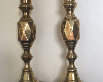 Large Pair Brass Geometric Vintage Candlesticks