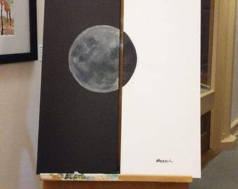 Lunar Diptych - Acrylic on (2) 12 x 36 in Canvas Black and White