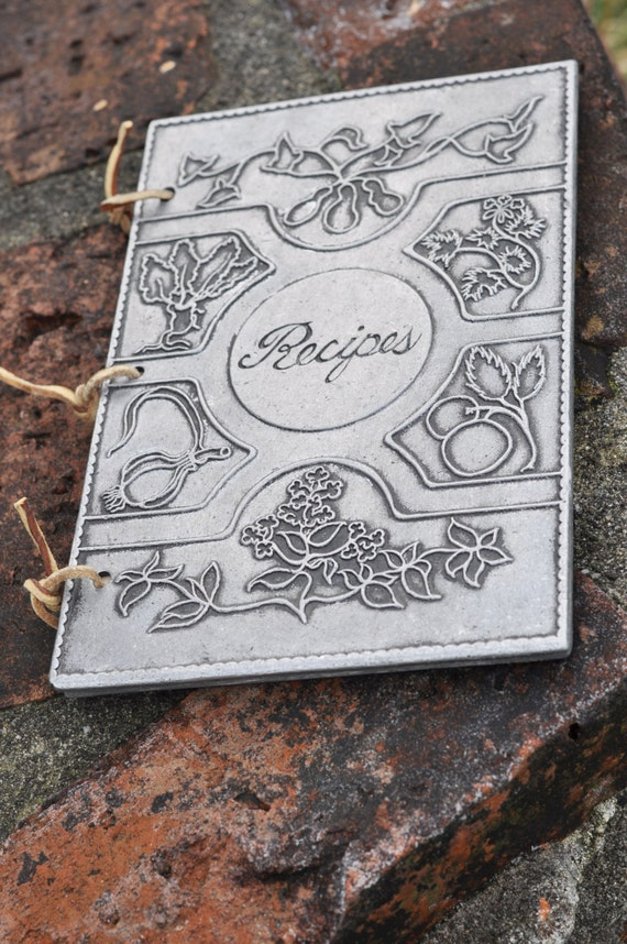 How To Make A Book Cover Out Of Leather : Recipe book pewter vintage paper leather rings