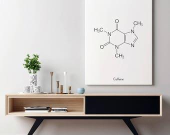 Coffee Sign | Caffeine Molecule | Chemistry Decor | Coffee Poster | Poster Coffee | Coffee Sign Decor | Caffeine Art | Kitchen Coffee Decor