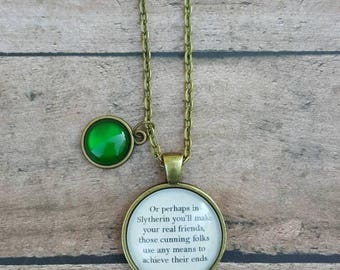 Slytherin Sorting Hat Necklace/ Harry Potter Jewelry/ Harry Potter Necklace/ Harry Potter Birthday Gift/ Bridal Party Gifts/ Gifts for Her