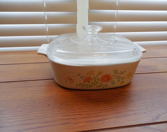 RARE Vintage 2QT Corningware Casserole Dish w/ Glass Lid - Wildflower A-2-B with A9C Lid