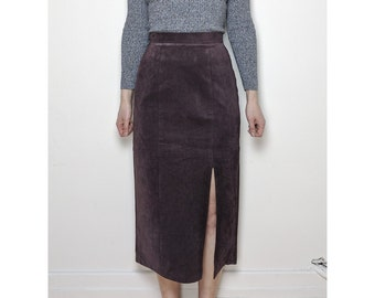 80s Mid-length Purple Suede Skirt / Size 6