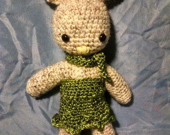 Crochet Bunny Doll With Green Dress And Scarf