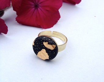 Black and Gold Adjustable Ring