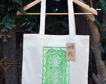 Foliage Tote Bag, Cotton Market Bag, Hand Printed