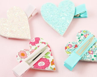 Pink and Blue Glitter Heart Hair Clips | Set of Glitter Heart Hair Clips | Sparkly Hair Clip Set | Glitter Heart Hair Clip Set