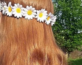 White Daisy Flower Crown, Bohemian Floral Crown, Floral Crown, Flower Crown, Flower Headband, Festival Wear