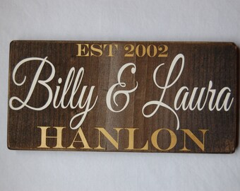 Personalized Couple Sign/Family Sign/Couple Names/First Names/Last Names/Established Date/Wedding Gift/Anniversary Gift/Housewarming