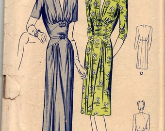 Butterick Pattern 2471, 1940's Gown, size 14, bust 32, complete but used