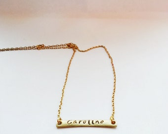 Personalized name bar necklace, hand stamped necklace,initials necklace,Monogram personalized Gift,Customize necklace,Hand stamped Gift