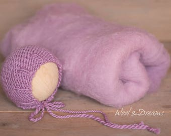 RTS Lilac Fluffy basket filler with the maching Newborn Bonnet Photography Prop