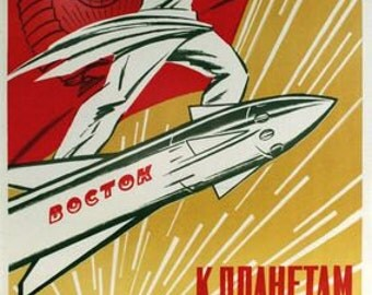Vintage 1961 Vostok Rocket Soviet Union Propaganda Poster A3 Print