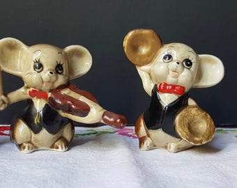 Vintage Porcelain Mice Band Figurines, Mouse statues, Porcelain Mouse Figurines, Animal Figurines, Collectible Mouse