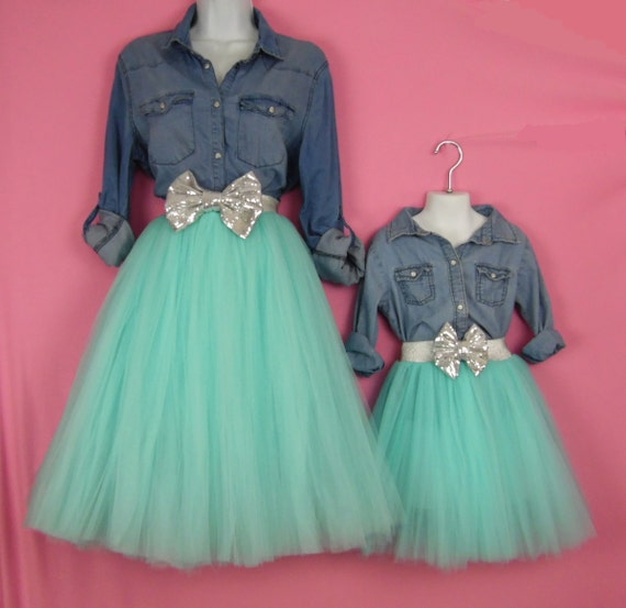 Mother Daughter Matching Aqua Tulle Skirts mommy and me set