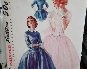 1955 Simplicity 1373 Junior's Drop Waist Party Dress Size 11 CUT Complete Sewing Pattern ReTrO Cute!