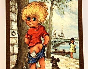 Michel Thomas retro Big Eye boy kitsch print Paris post card 6cmx8cm 1960s