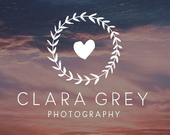 Heart Logo and Watermark  Logo Wedding Photography  Floral Wreath Logo Design  Heart Logo Design  Romantic Logo  Romantic