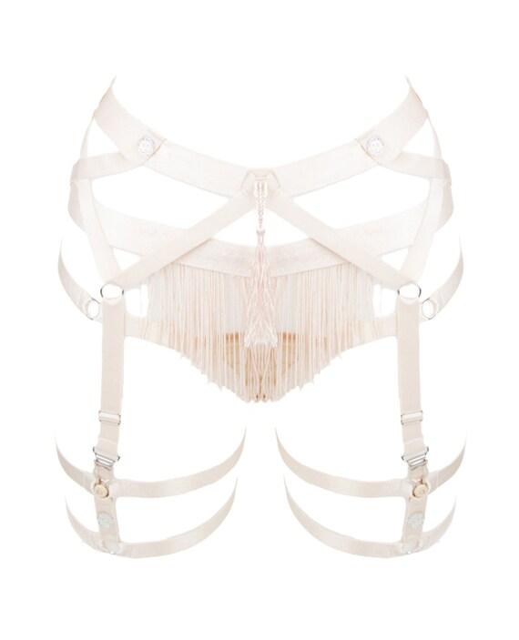Handmade Silk-Frindge Adjustable Crystal Embellished Suspenders, Made-to-Order/Bespoke/Custom UK