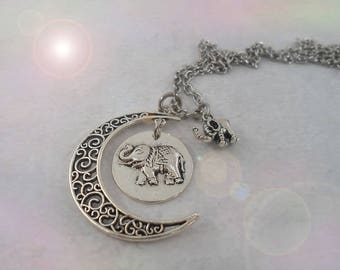Sweet Good Luck Elephants with Filigree Crescent Moon Necklace, Elephant Lover Gift, Elephant Necklace, Birthday Gift, Good Fortune Gift