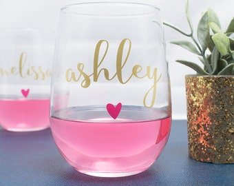Personalized Wine Glasses - Bachelorette Party - Bridal Party Wine Glasses - Wine Glass - Bridesmaid Gift - Wedding Wine Glasses