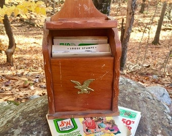 Vintage Wooden Letter Box with Brass Eagle including S&H Green Stamps booklets, Vintage Men's Office Decor, Trading Stamps Box, Memorabilia