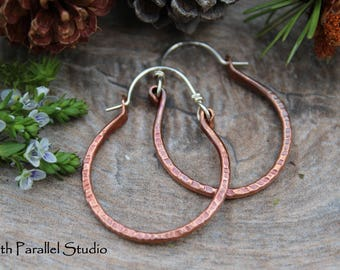 Hammered Copper Hoop Earrings, Mixed Metal Earrings, Hammered Earrings, Copper Jewelry, Hoop Earrings, Rustic Earrings, Hoops, Boho Jewelry