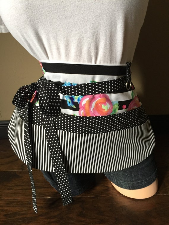 Black and White Flower Striped Apron