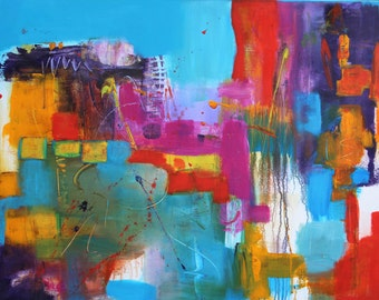 "Abstract acrylic painting, canvas, 100 x 80 cm, title: ""color happiness"""