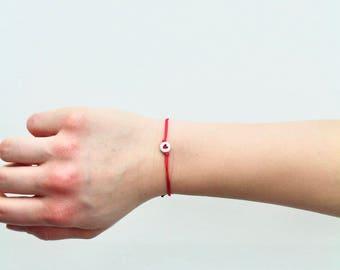 Heart Red Cord Bracelet/Anklet - TinyLittlePiecesShop