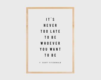 F Scott Fitzgerald, Motivational Quote, Motivational Wall Decor, Inspirational Wall Art, Literary Print, Literary Quote, Printable Quote