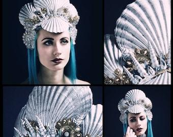 SILVER SIREN CROWN - Gorgeous Mermaid Headpiece - Unique Shell Tiara - Silver Shells - Gold Lace - Swarovski Crystals - Burning Man Costume