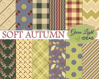 Fall Autumn Digital Papers, Fall Scrapbook Papers, Fall Digital Patterns, Autumn Backgrounds, Fall Digital Textures, Autumn Printable Papers