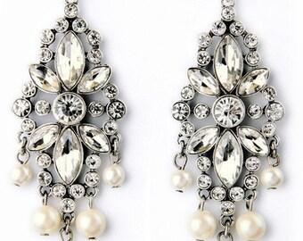 Deluxe Floral Crystal & Pearl Chandelier Earrings EA6057n