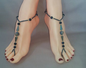 A Pair of Blue Natural Lapis  Azuli Bead Barefoot Sandals