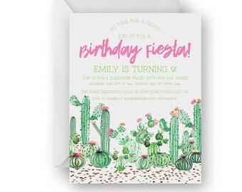 Fiesta Watercolor Cactus Birthday Invitation Set 10 PC//Fiesta Party Invites//Watercolor Cactus//Semi Custom//Printed Invitations