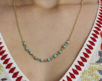 Dainty 14K Gold Plate Chain and Turquoise Necklace