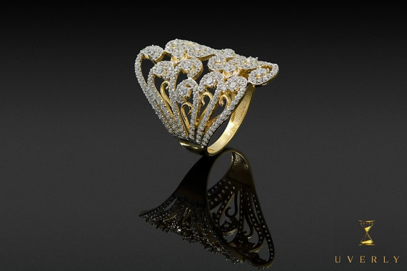 14k Solid Yellow Gold Womens Marquise Sparkling Elegant Ring