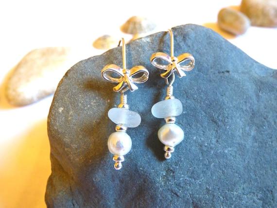 White Sea Glass & Freshwater Pearl Sterling Silver Bow Earrings - bride bridal wedding beads beaded drop dangle formal elegant - EE16001