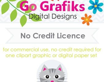 Commercial Use Licence No Credit Required for One Go Grafiks Clipart or Digital Paper Set
