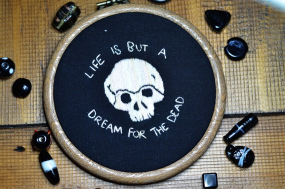 """Skull hand embroidery hoop art lettering in 4"""" hoop. Home decor; embroidered art; My Chemical Romance song lyric"""