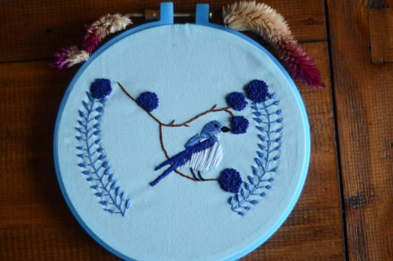 """Blue bird hand embroidery hoop art in 5"""" hoop. Home decor; embroidered art; romantic floral rustic"""