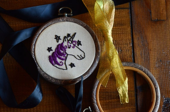 """Purple unicorn embroidery hoop art lettering in 3"""" hoop. Home decor; embroidered art; magical stars"""