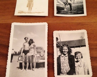 Vintage Original Photos From 1940-1950's, Set of Four